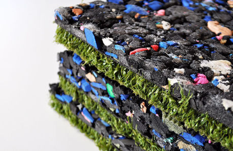 Recycled cross-linked closed-cell polyethylene for base infrastructure, roof gardens and outside playgrounds